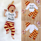 3pcs Outfit Set Unisex Clothes Cotton Newborn Baby Long SleeveRomper Pants Hat