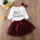 2020 My 1st Christmas Baby Girls Outfits Tops Romper+Tutu Skirt Clothes UK