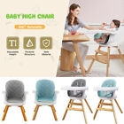 Baby High Chair 4 in 1 Wooden High Chair Modern Design Booster Chair with Tray