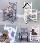 Kids Wooden Rocking Chair in Grey and White Bedroom Playroom