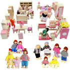 Kid s Children Wooden Furniture Dolls Family House Miniature 6 Room Set Doll Toy