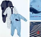 NEW Ex Matalan Baby Boys 3 Pack Multipack Blue Cotton Nautical Whales Sleepsuits