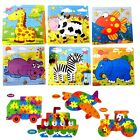 CHILDREN MINI LEARNING WOODEN PUZZLES JIGSAW EDUCATIONAL TOY ANIMALS / VEHICLES