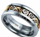 New Boxed Tungsten Carbide Gold Celtic Dragon Inlay Mens Wedding Band Ring