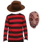 MENS ADULTS BURNT MAN MASK HAT & TOP HALLOWEEN FANCY DRESS COSTUME OUTFIT HORROR