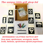 GLITTER TATTOO KIT IRONMAN SPIDERMAN SUPERHERO 10 stencils 4glitters OR REFILLS