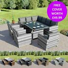 Rattan Dining Table Arm Chair Sofa Garden Furniture Set Grey Black Brown 9 Seats