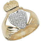 9ct Carat Yellow Gold Gents/Men Claddagh Ring with Cubic Zirconia/CZ