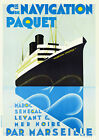Vintage Art Deco 1920s French Travel Poster Ocean Liner Marechal Lyautey Print