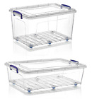 Large Clear Plastic Storage Boxes Clip Lid Wheels Stackable Underbed Container