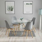 80cm Round Dining Table and 4 Tulip Chairs Set Padded Grey Kitchen Cafe UK White