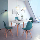 Wooden Dining Rectangle Table and 4 Blue Chairs Set Home Kitchen Dining Lounge