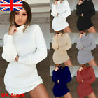 UK Womens Knitted Jumper Dresses Ladies Bodycon Winter Lace Up V Neck Sweater