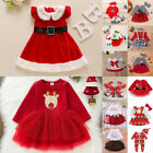 UK Baby Girls Christmas Santa Xmas Party Dress Kids Fancy Costume Clothes Outfit