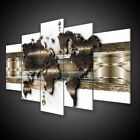 5 Panels Large World Map Wall Print unframed Pictures Canvas Art Home Decor Gift