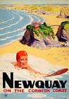 VINTAGE RAILWAY POSTER Newquay Cornish Coast Art Deco Surfer Surfing PRINT A3 A4