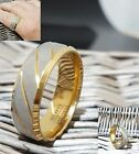 Tungsten Carbide Rings Gold Plated Men Women Brushed Band Ring