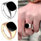 18ct Gold Filled Black Onyx Mens Signet Wedding Band Pinky Ring Size 7-12