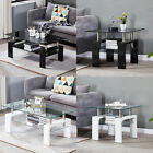 Coffee Tables Square 2 layer Glass Top Side End Table Stainless Steel Design