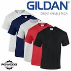 5 PACK Mens Gildan Heavy Plain Short Sleeve T Shirt | 100% Cotton | 6 COLOURS