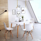 Retro Dining Table and Chairs Set 4 or 6 Wooden Legs Eiffel Dining Room Kitchen