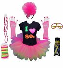 I LOVE 80s NEON PINK TUTU 80 S FANCY DRESS TSHIRT SET LEG WARMERS GLOVES BEADS