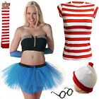 New Womens Ladies Wheres Wally Stripe Fancy Party Dress Costume Book Day special