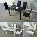 Contemporary Dining Table and 4 Padded Chairs Dining Set Home Kitchen Furniture