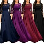 UK Womens Dresses Short Sleeve Long Floor Length Casual Lace Evening Prom Dress