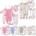 Cute Newborn Baby Clothes Unisex Infant Outfits Layette Set With Stripe Dot 8pcs