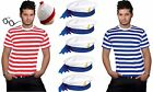 NEW MEN S WHERES WALLY BLUE STRIPE T-SHIRT SAILOR HAT ADULT FANCY DRESS OUTFIT