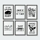 Funny Kitchen Wall Art Poster Black and White Food Prints Cooking Pictures Gift