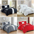 Luxury Embroidered Duvet Cover Bedding Set White Grey Quilt Double King Size