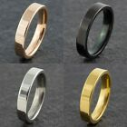 4mm Stainless Steel Mens Womens Wedding Band Gold Silver Black New Ring M to Z