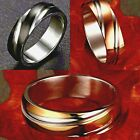 6mm Stainless Steel Mens Womens Wedding Band Silver Gold Black Plated Ring J-Z+1