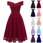 Womens Bridesmaid Midi Dress OFF Shoulder Overlap Lace Wedding Party Bardot Gown