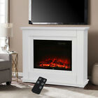 Modern Electric Inset Fireplace Heater Fire Place White Wooden Mantel Indoor 2KW
