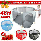 Foldable Baby Playpen 6 Sides Kids Toddlers Play Fence Safety Round Zipper Door