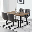 Rectangular Dining Table and 4 Faux Suede Fabric Chairs Black Legs Kitchen Sets