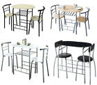 3 Piece Modern Breakfast Bar Dining Table and 2 Chairs Set Metal Frame Kitchen