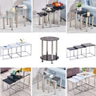Set of 3 Nested tables Coffee Side End Tables High Gloss Glass/Wood Black/White