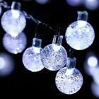30 LED Solar Powered Garden Party Fairy String Crystal Ball Lights Outdoor Light