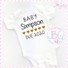 Personalised Baby Vest Unisex - Due 2020 - Embroidered Design, Clothes, Bodysuit