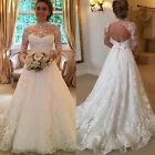 Women s Lace Long Sleeve Backless Wedding Bridesmaid Ball Gowns Prom Swing Dress