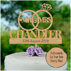 Wedding Cake Topper PERSONALISED Wood Wooden Cake Toppers Mr Mrs SURNAME Topper