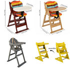 Folding Multi-Height Wooden High Chair Baby Feeding Natural Wooden Highchair NEW