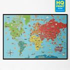 KIDS EDUCATIONAL SCHOOL ANIMAL MAP OF THE WORLD POSTER PRINT | A3 A4 A5 |
