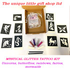 GLITTER TATTOO KIT MYSTICAL unicorns 10 stencils OR REFILL STENCILS GLITTER GLUE