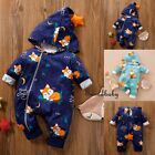 Hot Baby Newborn Boy Girl Unisex Romper Hooded Jumpsuit Bodysuit Outfits Clothes