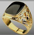 Mens Boys Ring Signet Band Yellow Gold Plated Pattern Black Onyx
